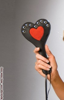 Women's Leather paddle with heart detail and nail heads - BLACK