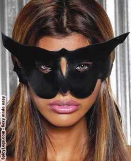 Women's Leather cat mask - BLACK - One Size