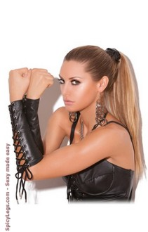 Women's Leather Lace Up Gloves - BLACK - One Size