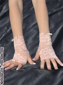 Women's Nude Color Ribbon Embroidered Fingerless Gloves - One size