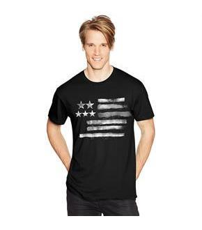 Men's Black and White Flag Graphic Tee
