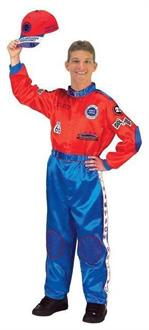 Men's Red Blue Racing Suit Costume - Standard