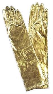 Elbow Length Gold Metallic Stretch Nylon Gloves - Standard