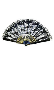 Black Lace Fan Costume Accessory - Standard for Halloween