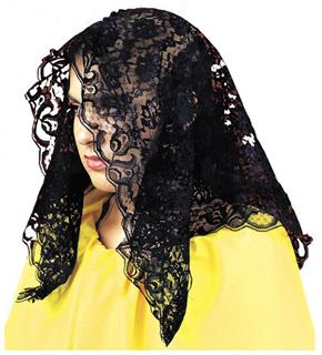 Women's Black Spanish Mantilla Costume Accessory - Standard