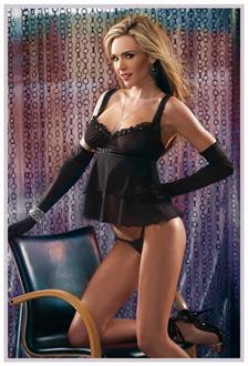 Women's Black Babydoll With G-String