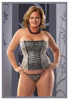 Women's Silver Plus Size Corset With G String - Standard