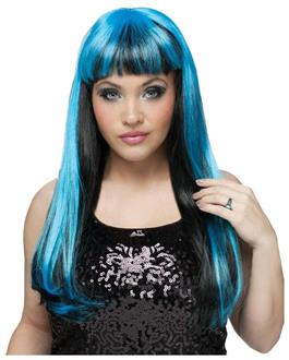 Women's Black Blue Natural And Neon Wig - Standard