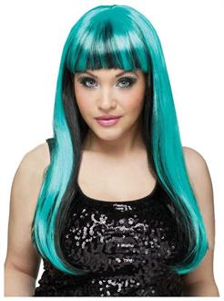 Women's Black Teal Natural And Neon Wig - Standard