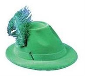 Men's Green Alpine Hat With Feather - Standard
