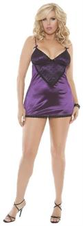 Women's Purple Satin Plus Size Babydoll With Dot Lace Overlay