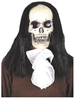 Men's Gothic Skull Deluxe Mask With Hair - Standard