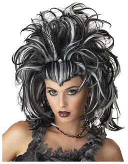 Women's Evil Sorceress Black White Wig - Standard