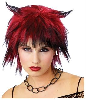 Women's Devilish Shag Black/Red Wig - Standard
