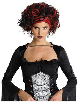 Women's Wicked Widow Black/Red Wig - Standard