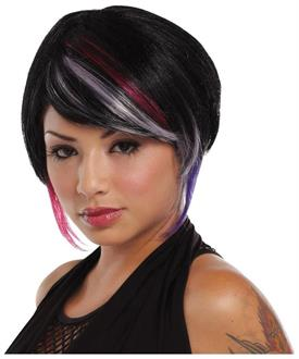 Women's New Rave Black Lavender Hot Pink Wig - Standard