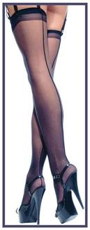Women's Sheer Back Seam Stocking Black - Standard