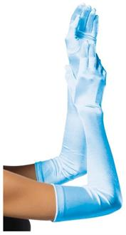 Satin Long Light Blue Adult Gloves