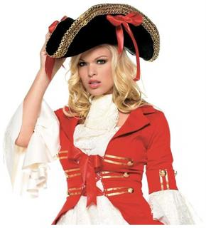 Women's Pirate Black With Red Ribbons Hat - Standard