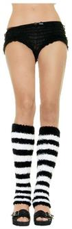 Leg Warmer Fuzzy Black White