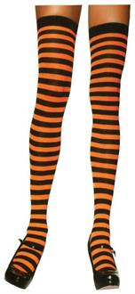 Women's Stockings Thigh High Striped Black/Orange - Standard