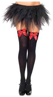 Black Thigh High Stockings With Red Bows