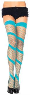 Women's Diamond Net Thigh High Neon Blue - Standard
