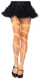 Diamond Net Thigh High Neon Orange