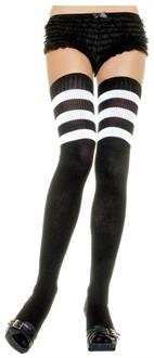 Women's Black Ribbed Thigh Highs With White 3 Stripe - Standard