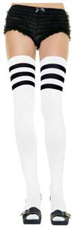 Women's White Ribbed Thigh Highs With Black 3 Stripe - Standard