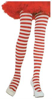 Tights Striped Plus Red/White