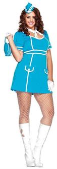 Women's Flight Attendant Plus Size Blue Costume - Standard