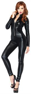 Catsuit Wet Look Zipper Front Costume