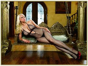 Women's Net Bodystocking With Ribbon Black/Red - Standard