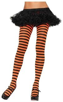 Women's Tights Striped Black Orange - Standard