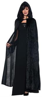 Women's Hooded Cloak Black Costume - Standard