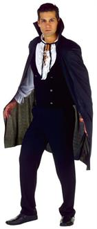 Men's Cape Black Stand Up Collar Costume - Standard