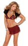 Women's Peek a Boo String Bra Top and Mini Skirt - RED ANIMAL