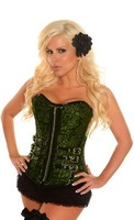 Emerald Buckled Brocade Steel Boned Corset