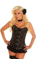Black Buckled Brocade Steel Boned Corset