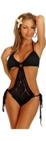 Black Crochet Pucker Back Monokini