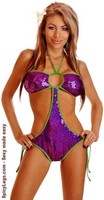 Purple Sequin Pucker Back Monokini