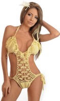 Cream Fringe Pucker Back Monokini