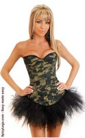 Camo Queen Burlesque Corset and Pettiskirt