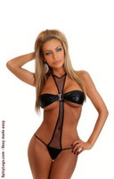 Metallic Fishnet Halter Teddy