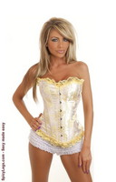 Floral Yellow Burlesque Corset