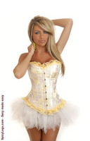 Floral Yellow Burlesque Corset and Pettiskirt