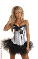 White Burlesque Polka Dot Corset and Pettiskirt