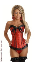 Red Burlesque Polka Dot Corset