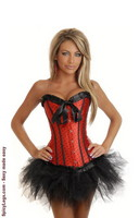 Red Burlesque Polka Dot Corset and Pettiskirt